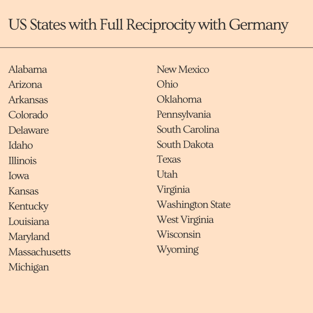 US States with reciprocity with Germany