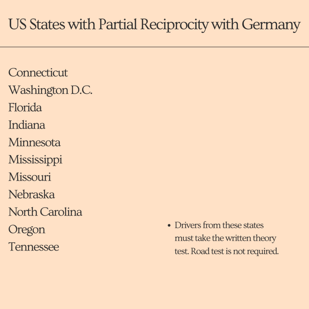 US States with partial reciprocity with Germany
